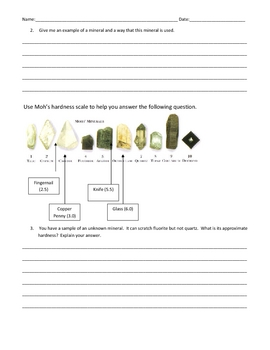 Rocks and Minerals Test, Study Guide and Test Answer Key by Erica