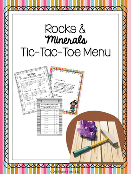 Rocks and Minerals Choice Board (Editable)