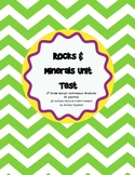 Rocks and Minerals Unit Test & Study Guide