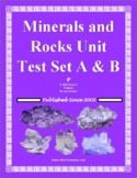 Minerals and Rocks Unit Test for Middle School Earth Science