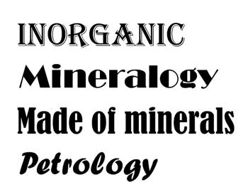 Rocks and Minerals Venn Diagram
