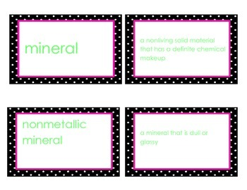Rocks and Minerals Vocabulary Flash Cards GPS Third Grade