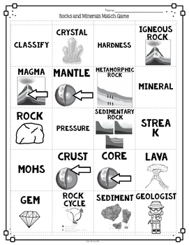 Rocks and Minerals Vocabulary Interactive Match Game for Comprehension