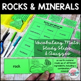 Rocks and Minerals Vocabulary Mats, Study Slips, and Quizzes