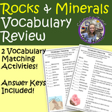 Rocks and Minerals Vocabulary Review- Centers, Assessments, Fun Activities!