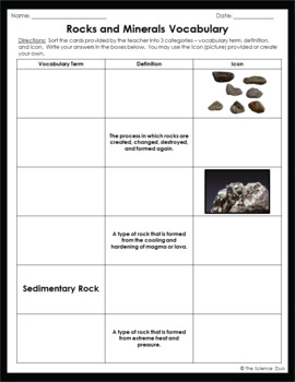 Rocks and Minerals Vocabulary Sort