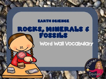 Rocks, Fossils & Minerals Vocabulary Word Wall Cards Earth Science Geology