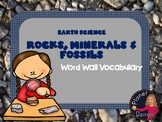 Rocks and Minerals Vocabulary Word Wall Cards Grades 1st-5