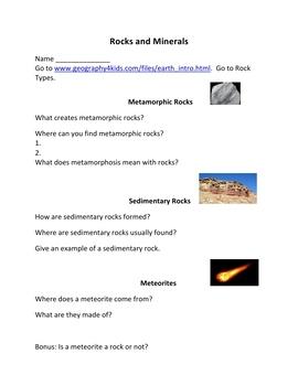 Rocks and Minerals Webquest