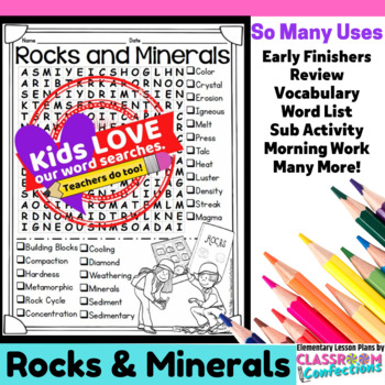 Rocks and Minerals Word Search Activity