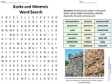 Rocks and Minerals Word Search with Answer Key