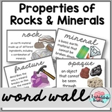 Rocks and Minerals Word Wall