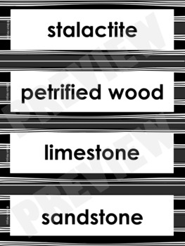 Rocks & Minerals Word Wall Words- Editable