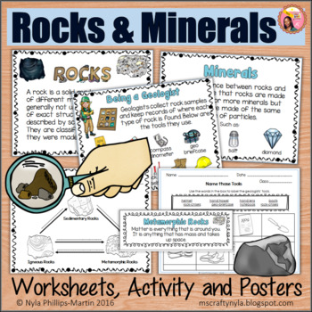 Rocks and Minerals activities, worksheets, definition card