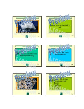 Rocks and Rock Cycle Review - Jeopardy game Earth Science