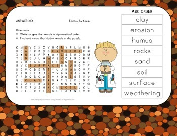 Rocks and Soil - Vocabulary Word Search wih ABC Order