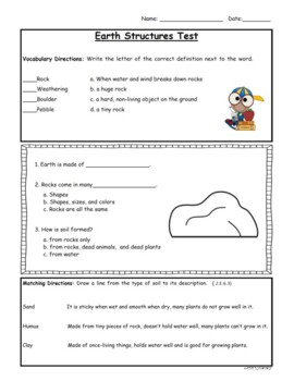 Rocks and Soil Quiz (Primary) - 2nd grade Science Fusion aligned