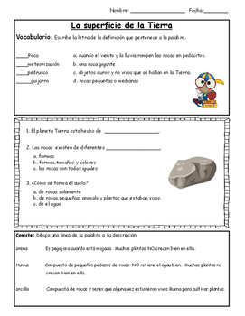 Rocks and Soil Quiz SPANISH (Primary) - 2nd grade Science Fusion aligned