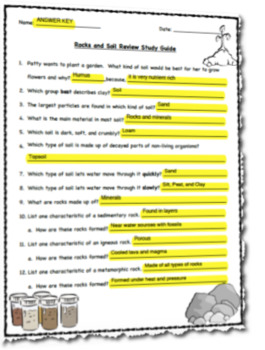Rocks and Soil Review Study Guide