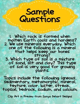 Rocks and Soil Review for Third Grade Science for Use in Quiz-E Games