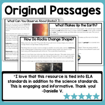 Rocks and soil science reading comprehension passages tpt for Soil 3rd grade worksheets