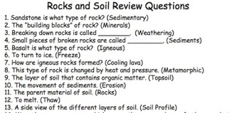 Rocks and Soil Vocabulary Game