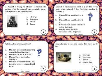 Rocks and minerals science: review and test prep task cards