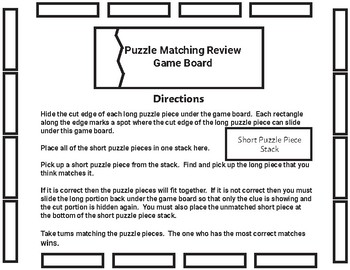 Rocks and the Rock Cycle Puzzle Matching Vocabulary Review Game