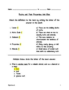 Rocks and their Properties Answer Key