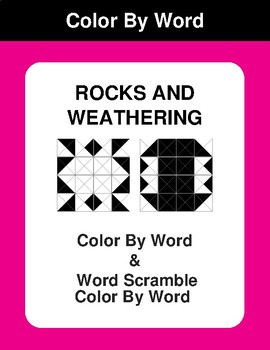 Rocks and weathering - Color By Word & Color By Word Scramble Worksheets
