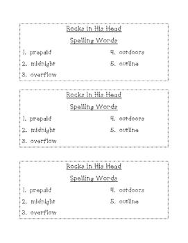 Rocks in His Head Differentiated Spelling (Scott Foresman Reading Street)