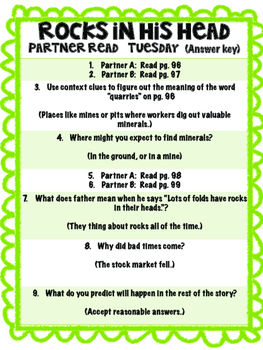 Rocks in His Head Reading Street 3rd Grade Unit 4 Partner Read centers groupwork