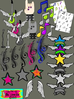Rockstar Clip Art with Blacklines for Personal or Commercial Use