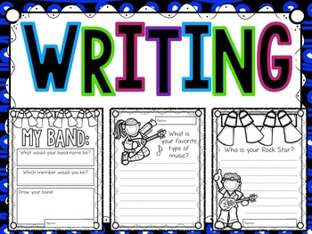 Rockstar Coloring and Quick-Writes- For Music or General Classrooms