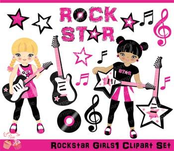 Rockstar Girls 1 Clipart Set