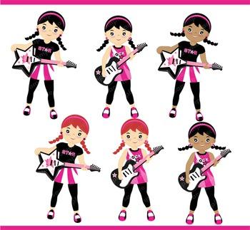 Rockstar Girls Clipart Set