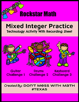 TEK 6.3D Rockstar Math (Technology Activity) - Mixed Integer Practice