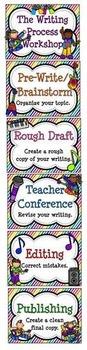 Rockstar Rainbow Writing Process Workshop Displays & Clip Chart