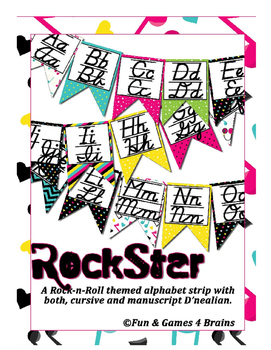 Rock Star (Rock-N-Roll) themed D'Nealian print and cursive Alphabet banner