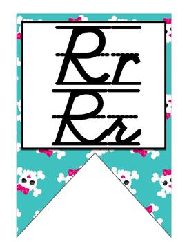 Rock Star (Rock-N-Roll) themed D'Nealian print and cursive Alphabet banner