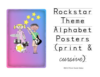 Rockstar Theme Alphabet Wall Posters - Print and Cursive