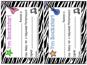 Rockstar Theme Behavior Clip Chart and Certificates