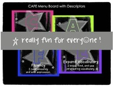 Rockstar Theme CAFE Menu Board with Descriptors