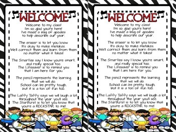 Rockstar Theme Welcome Bag Poem FREEBIE