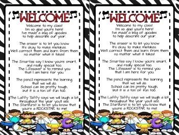 Rockstar Theme Welcome Bag Poem FREEBIE