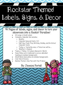 Rockstar Themed Labels, Signs & Decor Mega Pack!