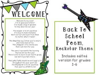 Rockstar Welcome Goody Bag Poem