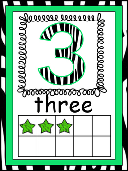 Rockstar Zebra Themed Number Posters 1-20