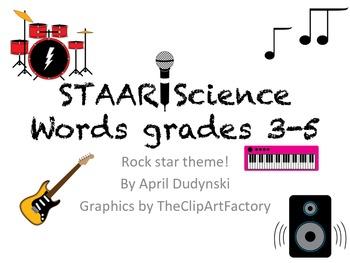 Rockstar theme- word wall words (Science 3-5)