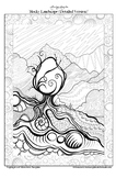 Rocky Landscape (detailed version) - Printable Colouring Page.